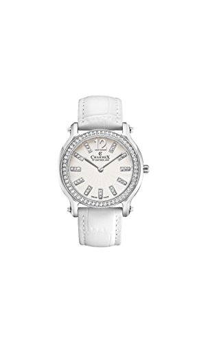 Charmex Women's EZE 31.5mm White Leather Band Steel Case Sapphire Crystal Quartz Analog Watch 6350