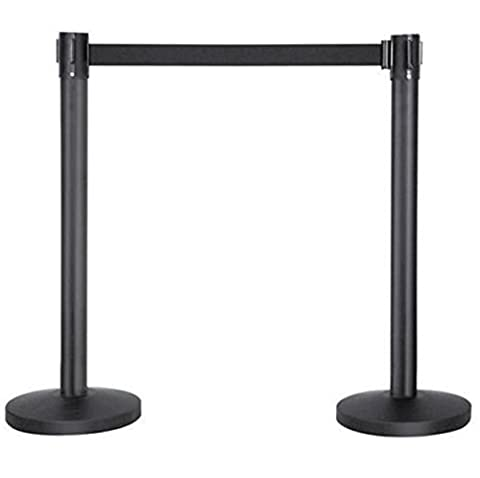 2 Black Extension Pole Cord With Retractable Belt Crowd Control Barrier Poles