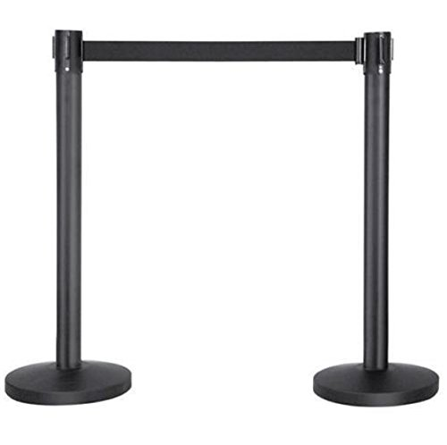 2 Black Extension Pole Cord With Retractable Belt Crowd Control Barrier (Telescoping Cover Support Pole)