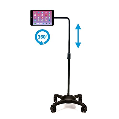 AIDATA iPad/Tablet Stand : Mobile Rolling Adjustable Floor Holder (L Arm) with Wheels ...