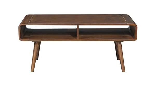 b1418cd832fd Amazon.com  Wood Coffee Table with Rounded Legs - Coffee Table with Shelves  - Brown  Kitchen   Dining