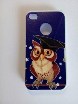 Cover Custodia Case Silicone Gomma Tpu Per Iphone 4 4S Halloween Gufo Owl