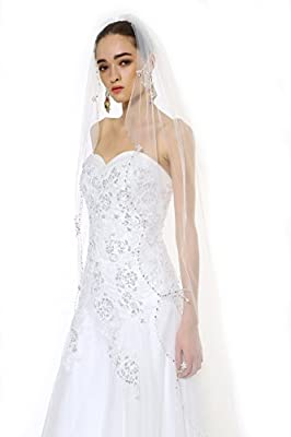 Passat 1T 2M/3M/5M/10M bridal veil cathedral crystal beaded wedding veil H72