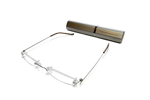 Rimless Reading Glasses for Men and Women +1.5 Silver Ultra Slim and Ultra Light Includes Aluminium Matching Case By ()