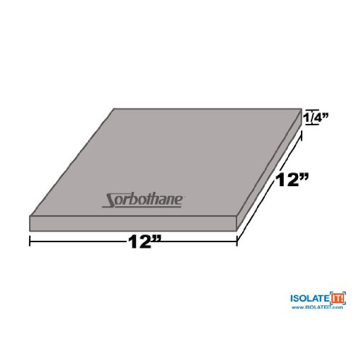 Sorbothane Vibration Damping Sheet Stock (30 Duro, 1/4 x 12 x 12in) by Isolate It! (Image #1)