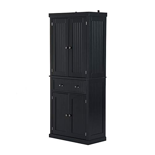 "Festnight Tall Kitchen Pantry Storage Cabinet, Traditional Standing Kitchen Pantry Cupboard Cabinet Black 72"" by Festnight (Image #3)"