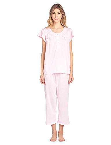 Casual Nights Women's Short Sleeve Lace Dot Capri Pajama Set - Pink - (Dot Capri Set)