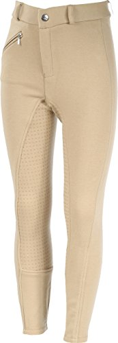(Horze Junior Active Silicone Grip Full Seat Breeches Light Brown 12)