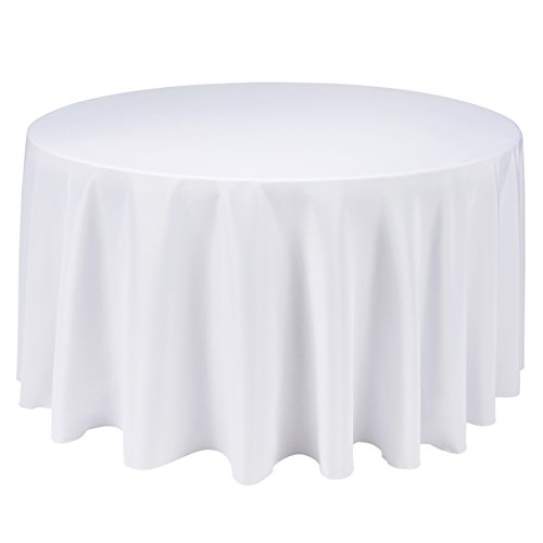 Remedios 120-inch Round Polyester Tablecloth - for Wedding, Restaurant, or Banquet use, White