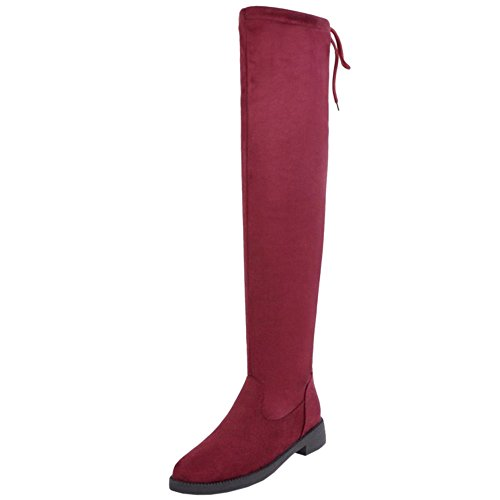 Knee Pull Boots TAOFFEN Women's Red Over On 6HnH8Ew