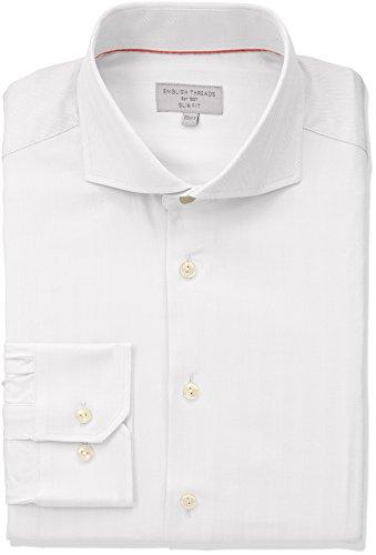 English Threads Men's Slim Fit Herringbone Dress Shirt, White, 16.5