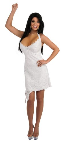 Jersey Shore Jwoww Halter Dress and Enhancements, White, Small Costume -