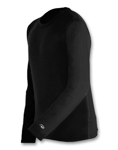 (Champion Duofold Varitherm Mid-Weight 2-Layer Boys' Thermal Shirt_Black_M)