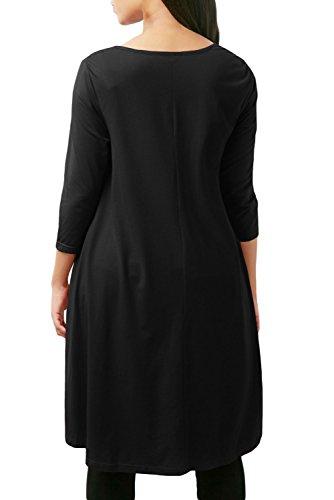Neuf Noir en dentelle Splice High Low Hemline Chemisier de soirée pour femme Tenue décontractée d'été Taille UK 16EU 44