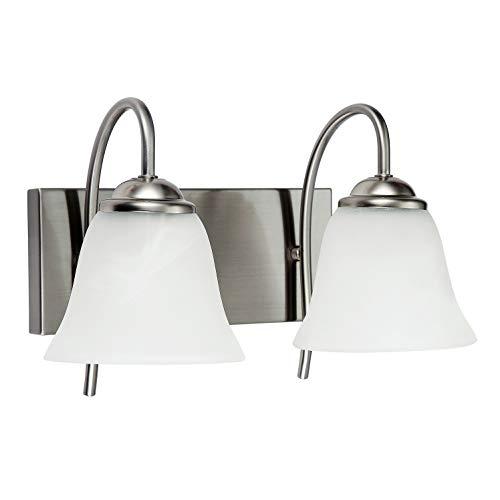 Satin Nickel Wall Fixtures Bar - OSTWIN 2-Light Bath Bar Light Up or Down, Interior Bathroom Vanity Wall Lighting Fixture VF41, 2x60 Watt E26 Socket, Satin Nickel Finish with Alabaster Bell Glass Shade UL Listed