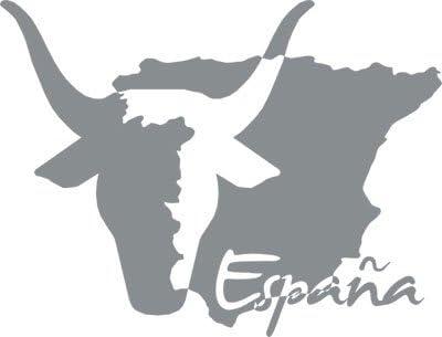 Adhesivo para salón pared Mapa de España con Toro y texto, Gris ...