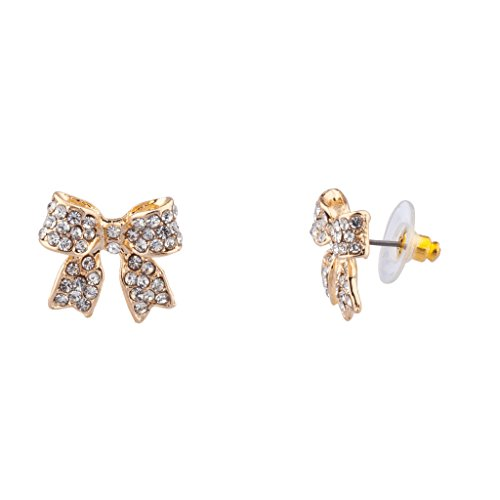 Lux Accessories Pave Crystal Simple Delecate Bow Stud Earrings Women's Kids & Girls