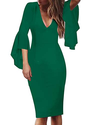 VFSHOW Womens V Neck Ruffle Bell Sleeve Cocktail Party Sheath Pencil Dress 2281 GRN L Green (Bell Sleeve Ruffle)