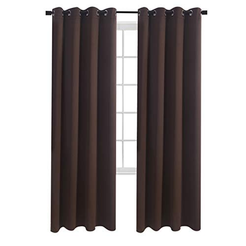Aquazolax Bedroom Window Blackout Curtains Plain Top Eyelets Blackout Thermal Curtain Drapes 52 x 95 Inch for Living Room, Set of 2, Toffee Brown from Aquazolax