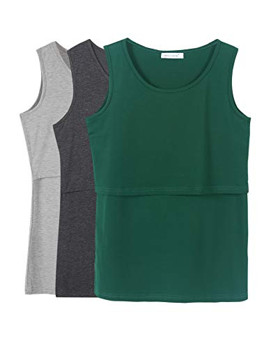 - Smallshow Women's 3 Pack Maternity Nursing Tank Tops Medium Deep Grey-Grey-Green