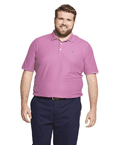 IZOD Men's Big and Tall Advantage Performance Short Sleeve Solid Polo, Orchid, 3X-Large