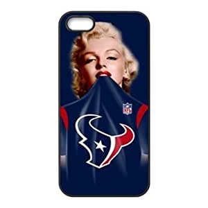 iPhone 5 & 5s Case - Marilyn Monroe in NFL Houston Texans Blue Jersey Apple iPhone 5 & 5s Waterproof Rubber (TPU) Back Cases Covers by icecream design