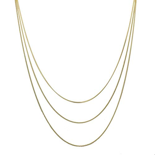 18k Gold-Flashed Sterling Silver Multi-Strand Curb Chain Necklace Italy 16-20 plus 2