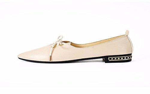 HBDLH Zapatos de Mujer/Zapatos De Punta Solo Los Zapatos Zapatos De Verano De Fondo Plano Superficial Bruto. Beige