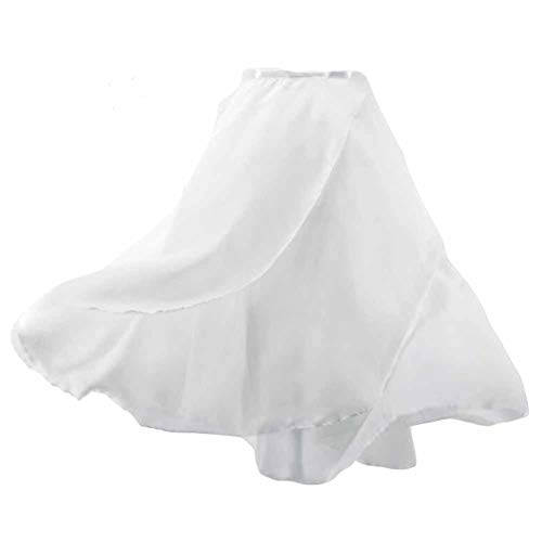 Panda Legends Women Double-Layer Chiffon Ballet Dance Wrap Skirt with Waist Tie, White 58cm