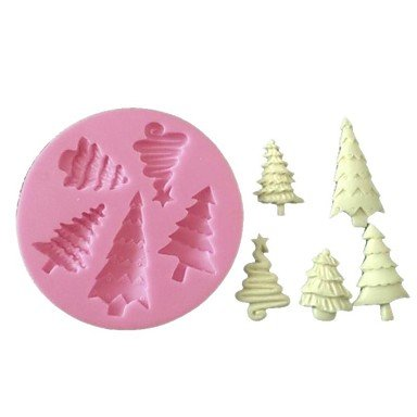 hjlhyl 3d decoración de pasteles molde de silicona Fondant Árbol de Navidad molde de silicona para cupcake Candy Chocolate jabón manualidades: Amazon.es: ...