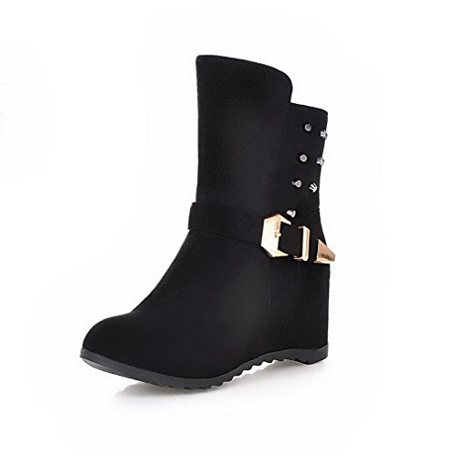Heels Toe High WeenFashion Round Imitated Solid Black Closed Suede Boots top Low Women's HHfgTwaq