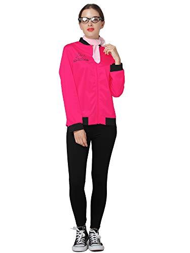 TDmall 50S Grease T-Bird Danny Rhinestone Pink Ladies Jacket Costume Fancy Dress with Scarf -