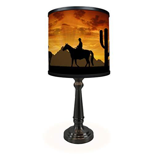 Western Cowboys Table Lamp - Museum Quality Art Print Illuminated on ()