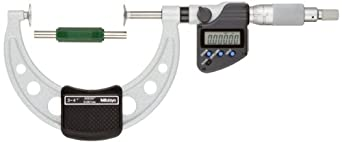 Mitutoyo LCD Disk Micrometer, Non-Rotating Spindle, Ratchet Stop, Inch/Metric