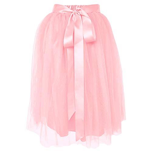 Dancina Women's Knee Length Tutu A Line Layered Tulle Skirt Regular (Size 2-18) Blush Pink ()