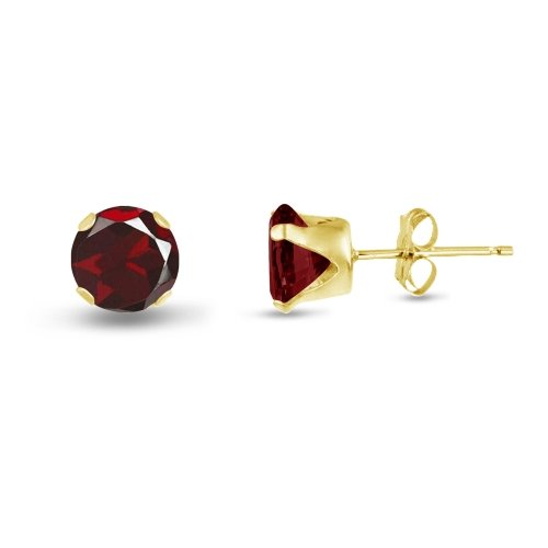 Round 7mm 14k Gold Plated Sterling Silver Genuine Red Garnet Stud Earrings, Free Gift Box included (Box Gift Garnet Genuine Sterling)