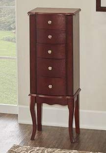 (Jewelry Armoire - Brown Mahogany Wood with Mirror Free Standing - Cozy Home of Your)