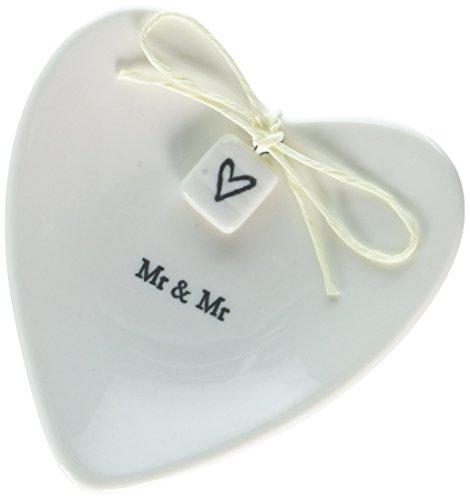 (East Of India 'Mr & Mr' White Porcelain Heart Ring Dish Gift - Wedding Gift)