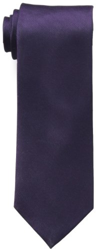 Calvin Klein Men's Silver Spun Solid Tie, Plum, Regular