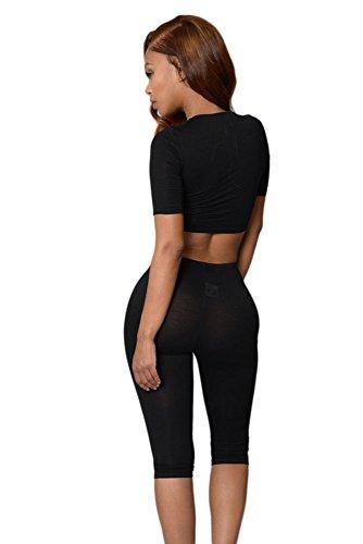 Schwarz Crop Schnür Top und Hose Set Hosen-Set Jumpsuit Catsuit Clubwear Kleidung Größe S UK 8�?0