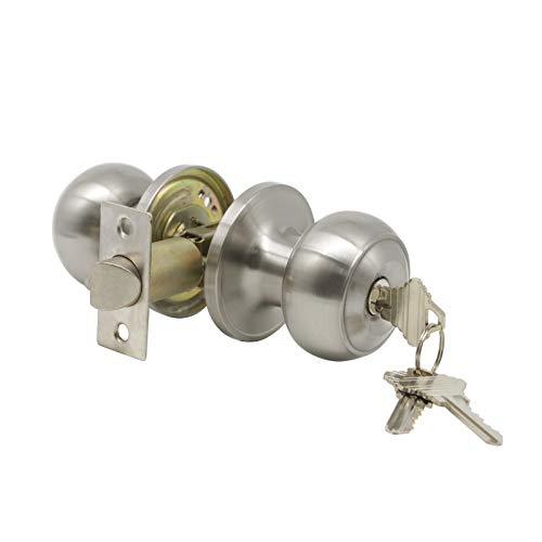 1 Pack Probrico Interior Bedroom Entrance Doorknobs Door Lock One Keyway Entry Keyed Alike Same Key Door Lock Entrance Lockset in Satin Nickel Each with 3 Keys