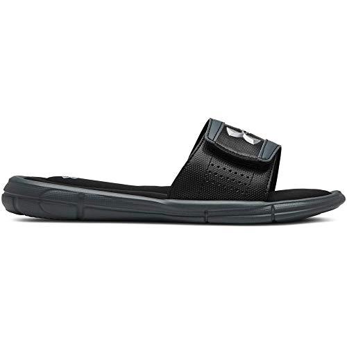 Under Armour Boys' Ignite V Slide Sandal, Black (002)/Pitch Gray, 7 (Under Armour Slide Sandals Youth)