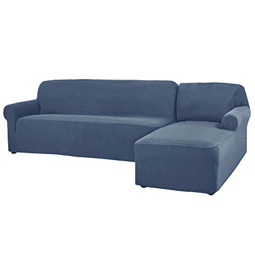CHUN YI 2 Pieces L-Shaped Jacquard Polyester Stretch Fabric Sectional Sofa Slipcovers (Right Chaise(2 Seats), Denim Blue)