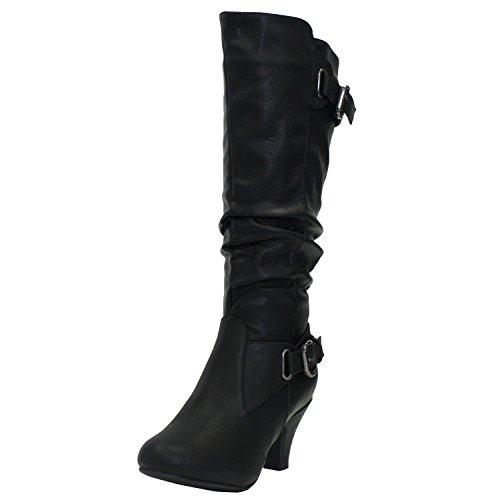 TOP Moda Womens Bag-55 Knee High Buckle Slouched Kitten Heel Boots, Black 9 ()