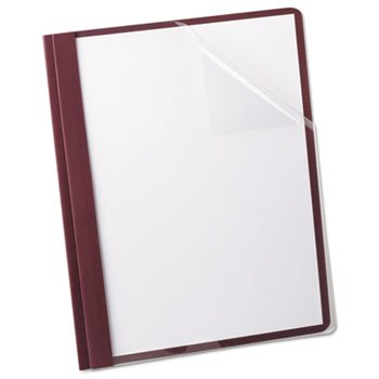 Linen Finish Clear Front Report Cover, 3 Fasteners, Letter, Burgundy, 25/box