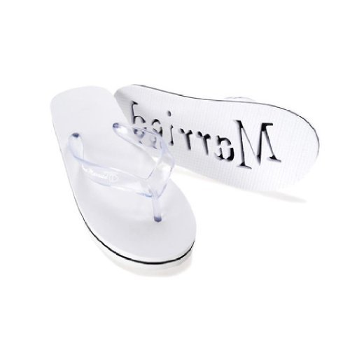 Victoria Lynn Just Married Flip Flops for Women,White,Small 5/6 ()