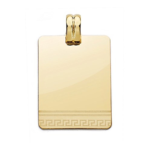 18k Pendentif en or laser plaque ajourée 28mm. [AA0540]