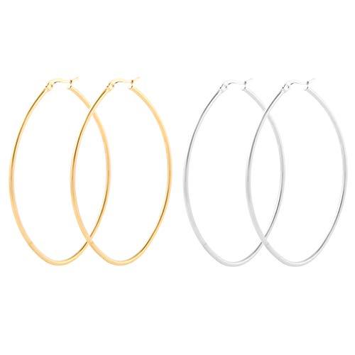 LXBSIYI Huge Gold Hoop Earrings for Women - Stainless Steel Plated 10k Gold Oval Hooped Earrings for Women,Large 2 Hoop Earrings for Women (2 Pairs of Oval Hoop 70MM Gold&Sliver)