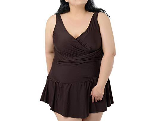 fun-ttore Good! Sexy Women Solid Colors One-Piece Swimwear Skirt Push Up Big Size Plus Size 2XL-6XL Rn,Brown,4XL]()