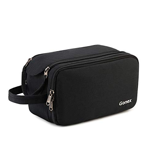 Gonex Travel Toiletry Bag with Dual-Way Zippers Cosmetic Makeup Organizer for Men Women Shaving Dopp Kit for Travel Business Trip (Black)